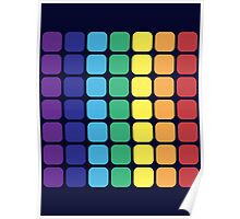 Vertical Rainbow Square - Dark Background Poster