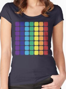 Vertical Rainbow Square - Dark Background Women's Fitted Scoop T-Shirt