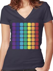 Vertical Rainbow Square - Dark Background Women's Fitted V-Neck T-Shirt