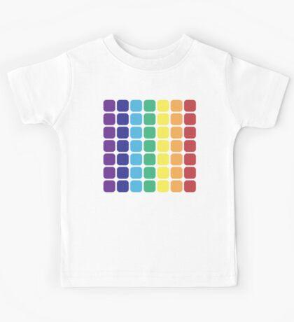 Vertical Rainbow Square - Dark Background Kids Tee