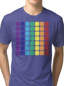 Vertical Rainbow Square - Dark Background Tri-blend T-Shirt