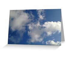 White clouds within the blue sky canvas Greeting Card