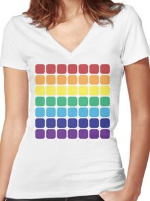 Rainbow Square - Light Background Women's Fitted V-Neck T-Shirt