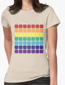 Rainbow Square - Dark Background Womens Fitted T-Shirt