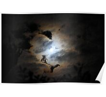 The Moon Behind Clouds Poster