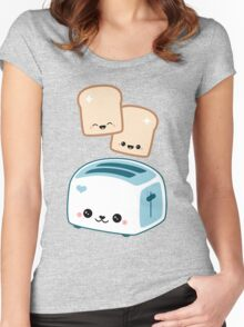 Happy Flying Toast Twins Women's Fitted Scoop T-Shirt