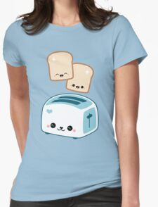 Happy Flying Toast Twins Womens Fitted T-Shirt