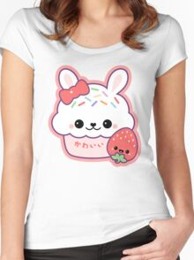 Cute Bunny Cake Women's Fitted Scoop T-Shirt