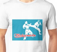 Taekwondo Jumping Back Kick Blue  Unisex T-Shirt