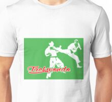 Taekwondo Jumping Back Kick Green  Unisex T-Shirt
