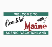 Welcome to Beautiful Maine Road Sign Vintage 80s by worldofsigns