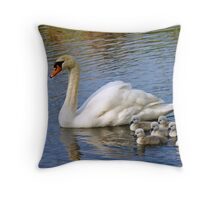 Adult Swan and Cygnets Throw Pillow