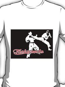 Taekwondo Jumping Back Kick Black T-Shirt