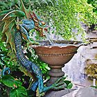 Water Spouting Blue-Green Dragon Fountain by IngeHG
