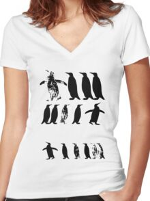 ZOOlogy - Penguin I Women's Fitted V-Neck T-Shirt