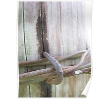 Barbed Wire Fence Post Poster