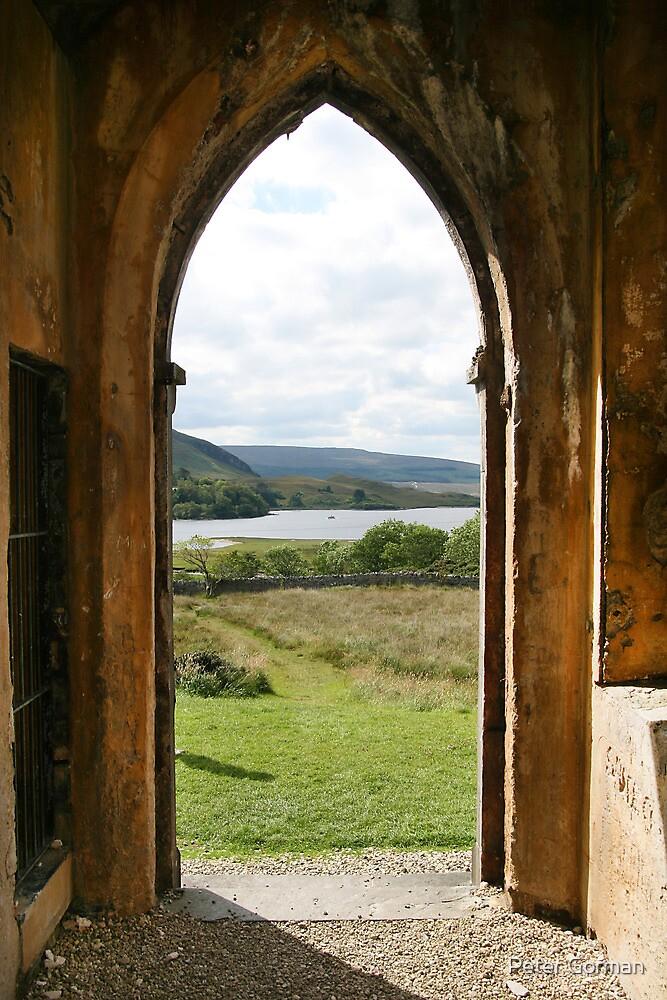 Old Church Dunlewey Donegal Ireland - view from door by Peter Gorman