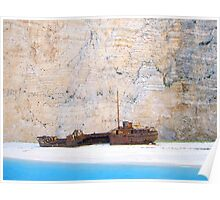 Shipwreck against Limestone Cliffs Poster
