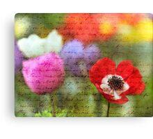 Vintage Anemone Flowers Canvas Print