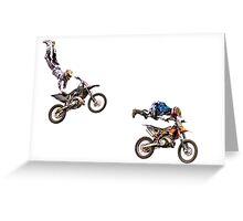Motocross bikes in mid air jump Greeting Card