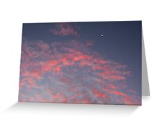 Sunset Moon With Clouds Greeting Card
