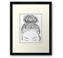Simple Design - Girl Sketch Framed Print