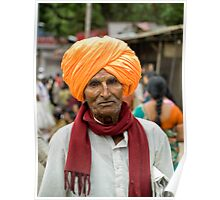 A walking man with the traditional turban over his head Poster