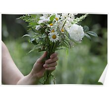 White garden bouquet Poster