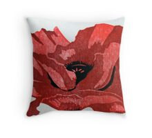 Poppy 3 stage reduction lino print Throw Pillow