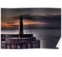 Watchet harbour lighthouse Poster