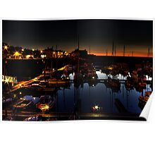 Watchet harbour by night. Poster