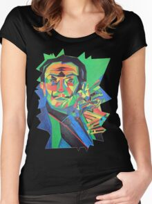 Salvador Dali with Ocelot and Cane Women's Fitted Scoop T-Shirt
