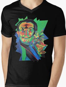 Salvador Dali with Ocelot and Cane Mens V-Neck T-Shirt