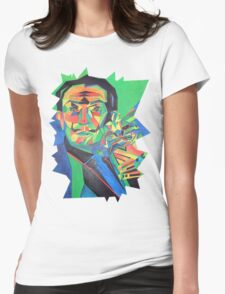 Salvador Dali with Ocelot and Cane Womens Fitted T-Shirt