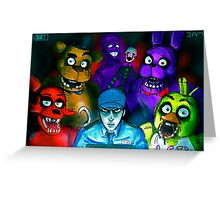 Five Nights at Freddy's with Security Guard, Purple Guy&Marionette Greeting Card