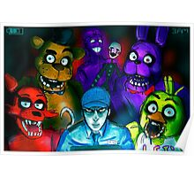 Five Nights at Freddy's with Security Guard, Purple Guy&Marionette Poster