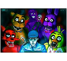 Five Nights at Freddy's with Security Guard, Purple Guy&Marionette Photographic Print