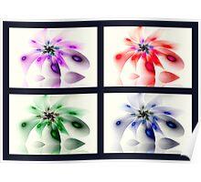 Four Seasons of Fractal Flowers Poster