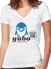 yubo - penguin QRcode Women's Fitted V-Neck T-Shirt
