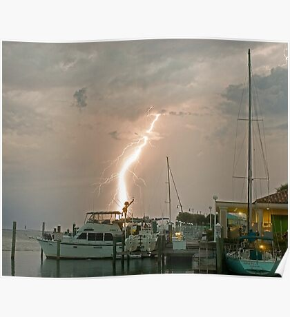 A stormy night on the water. Poster