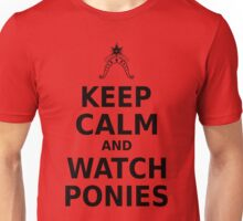 Keep Calm and Watch Ponies - Black Text Unisex T-Shirt