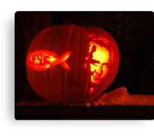 "red neck jack-o-lantern ""jesus & Johnny cash"" Canvas Print"