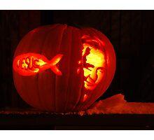 "red neck jack-o-lantern ""jesus & Johnny cash"" Photographic Print"