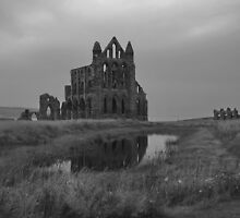 Whitby Abbey, North Yorkshire, UK in B&W by AnnDixon