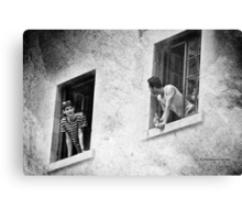 Neighbors Chit Chat - Black and White Canvas Print
