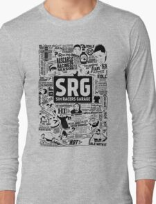 Sim Racers Garage Collage - Black w/ White Products Long Sleeve T-Shirt