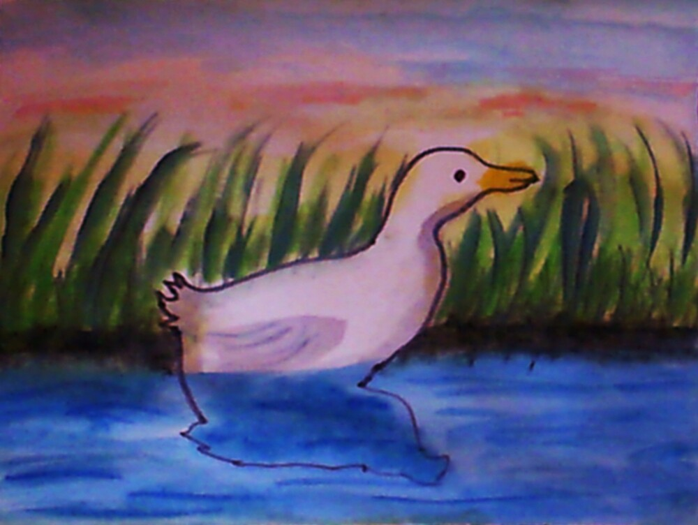 Reflected and alone. bird series, watercolor by Anna  Lewis, blind artist