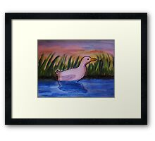 Reflected and alone. bird series, watercolor Framed Print