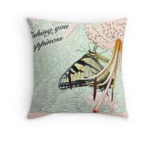 Wedding Happiness - Butterfly and Lily Throw Pillow