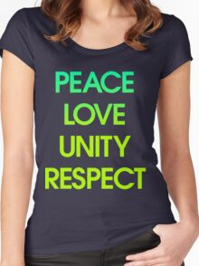 Peace Love Unity Respect (PLUR) Women's Fitted Scoop T-Shirt